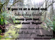 "If you're at a dead end, take a deep breath, stamp your foot, and shout ""Begin!"" You never know where it will take you. 