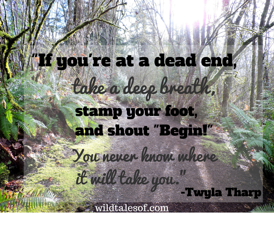 """If you're at a dead end, take a deep breath, stamp your foot, and shout """"Begin!"""" You never know where it will take you. 
