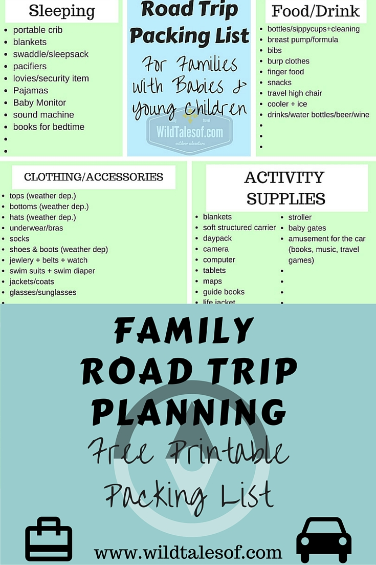 family activities road trip europe baby packing lists