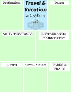 Travel & Vacation Brainstorm List