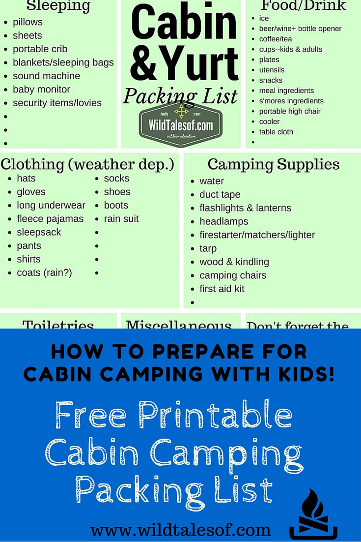 how to prepare for cabin camping with kids